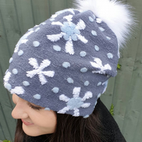 Snowflake Pattern Boucl Slouchy Hat Large White Pom Pom-Fully lined with Polar F