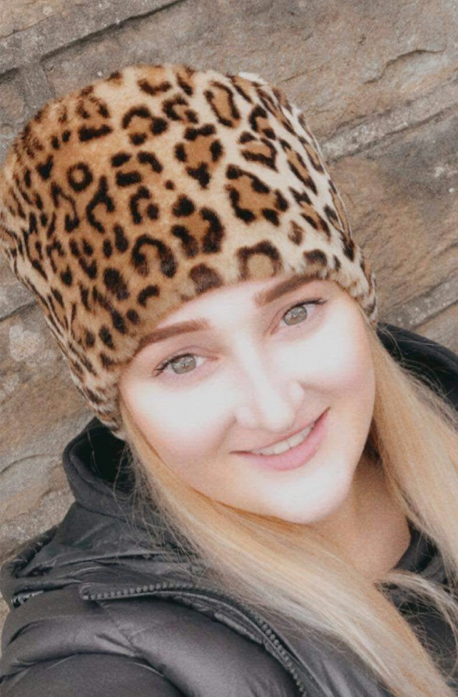 Lovely Leopard Short Pile Faux Fur Pill Box Style Hat with Polar Fleece Lining.