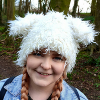 Cute and Fluffy Tufty White Faux Fur Animal Ears Hat with Polar Fleece Lining