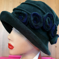 Emerald Green Polar Fleece Hat-Polar Fleece Lining-Downton Abbey Hat-Womens Flee