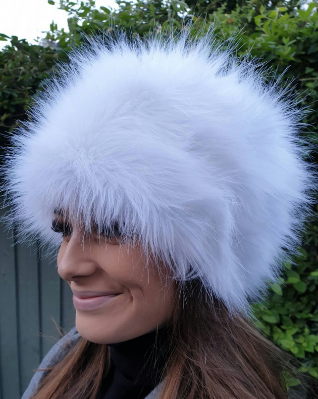 Ice White Faux Fur Hat Russian Style with Cosy Polar Fleece Lining