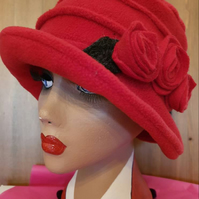 Cosy Flower Trimed Red Fleece Hat-Polar Fleece Lining-Downton Abbey Hat-Cloche H