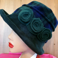 Dark Green and Tartan Fleece Hat-Polar Fleece Lining-Downton Abbey Hat-Womens Fl