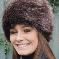 Dark Peacock Faux Fur Hat with Cosy Polar Fleece Lining