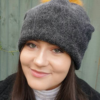 Grey Wool Blend Slouchy Hat with Large Mustard Pom Pom. Fully lined with Polar F