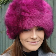 Super Luxury Magenta Faux Fur Hat with Polar Fleece Lining