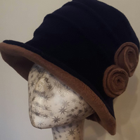 Stylish 20's Style Navy and Camel Cloche Fully Fleece Lined-Downton Abbey Hat-Wo