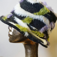 Unique Faux Fur Bucket Hat-Festival Hat-Floppy Hat-Fur Hat-Fake Fur Hat-Rave Hat