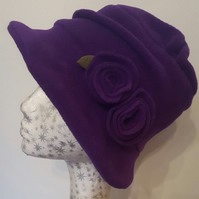 Fleece Lined Purple Fleece Hat- Pleated Top-Downton Abbey Hat-Womens Fleece Hat-