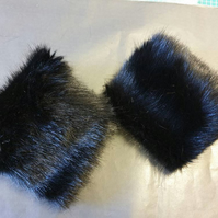 Short Black Luxury Faux Fur Cuffs- Faux Suede Lining and Elasticated at One End-
