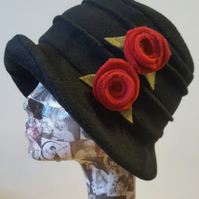 Handmade Black Fleece Hat with Red Flowers-Polar Fleece Lining-Downton Abbey Hat