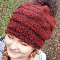 Burgundy Fleece Slouchy Hat with Large Chocolate Brown Pom Pom.Fully lined with