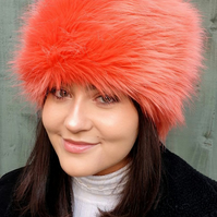 Super Fluffy Tangerine Faux Fur Hat with Full Polar Fleece Lining