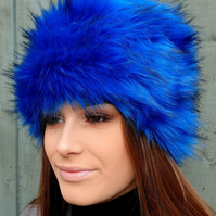 Royal Blue Long Luxury Faux Fur Hat with Cosy Polar Fleece Lining.