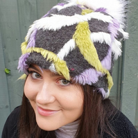 Purple, Grey and Lime Green Fleece Slouchy Hat with Large White Pom Pom.Fully li