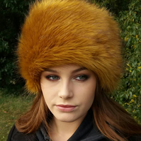 Stunning Golden Mustard Faux Fur Hat with Cosy Polar Fleece Lining