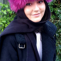 Frieda Scarf Hat in Magenta. Faux Fur Hat with Fleece Top and Long Fleece Sides.