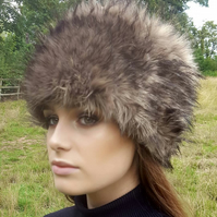 Coyote Faux Fur Hat with Cosy Polar Fleece Lining