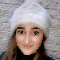 Cream Tones Faux Fur Pom Pom Hat-Fully Lined with Polar Fleece-Pom Pom-Fake Fur