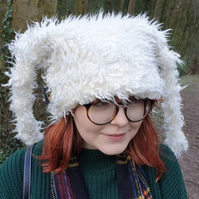 Tufty White Faux Fur Marshmallow Hat with Polar Fleece Lining