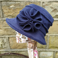 Cosy Navy Blue Fleece Hat-Fully Fleece Lined-Downton Abbey Hat-Womens Fleece Hat