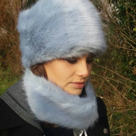 Super Luxury Powder Blue Faux Fur Hat with Cosy Fleece Lining