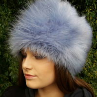 Beautiful Mid Blue Faux Fur Hat with Cosy Polar Fleece Lining