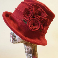 Red Wool Felt Hat-Fleece Lining- Cloche Hat-Downton Abbey Hat-1930's Hat-Womens