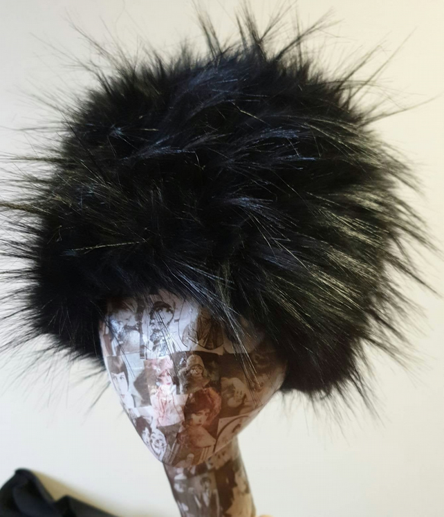 Extra Long Spiky Black Textured Faux Fur Hat- Cosy Polar Fleece Lining- Statemen