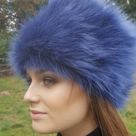 Vibrant PurpleBlue Faux Fur Russian Style with Cosy Polar Fleece Lining