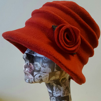 Red Fleece Hat Lined with Polar Fleece-Downton Abbey Hat-Womens Fleece Hat-Women