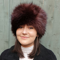 Lovely Mocha Chocolate Luxury Faux Fur Hat with Polar Fleece Lining