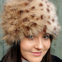Handmade in England Luxury Faux Fur Cheetah Hat. With Fleece Lining