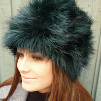 Bottle GreenBlack Faux Fur Russian Style with Cosy Polar Fleece Lining