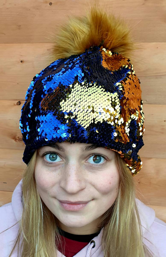 Flip Sequin PomPom Hat in Dark BlueGold-Polar Fleece Lining-Reversible Sequins-M
