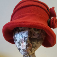 Flower Trimed Red Fleece Hat-Polar Fleece Lining-Downton Abbey Hat-Womens Fleece