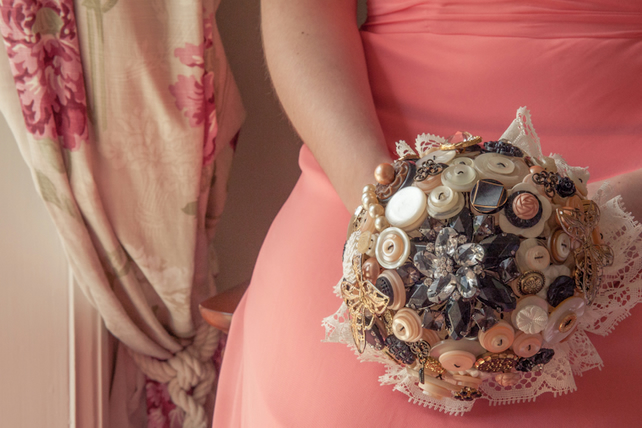 Gothic Vintage Button Brooch Jewellery Bouquet It's All Peachy Wedding Bridal
