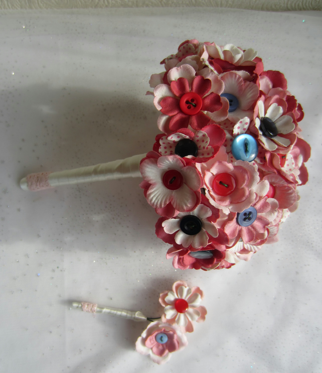 Vintage Button & Flowers Wedding Bridal Bouquet in Pink and Blue