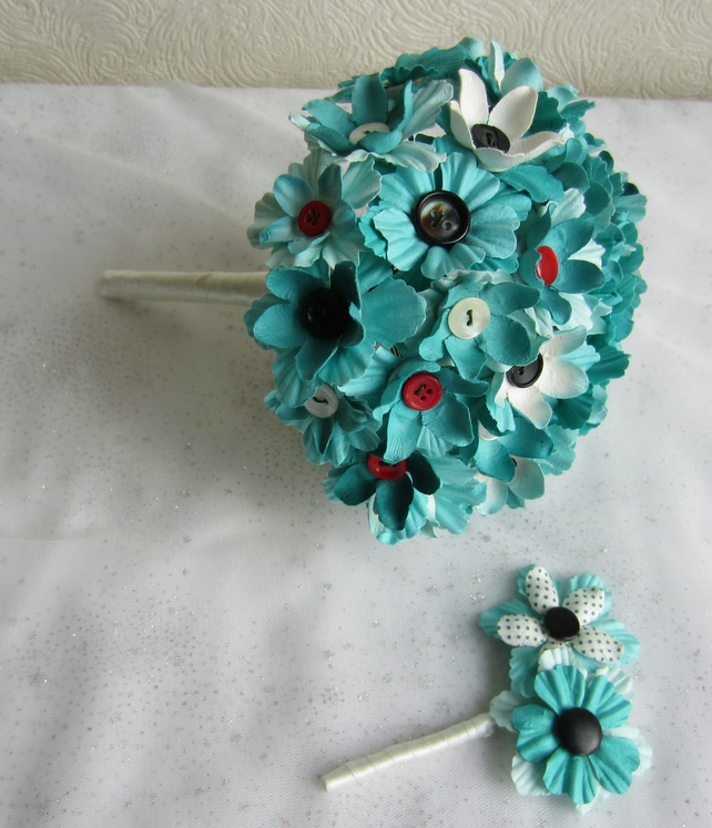Vintage Button & Flower Wedding Bouquet in Turquoise and Red with Buttonhole