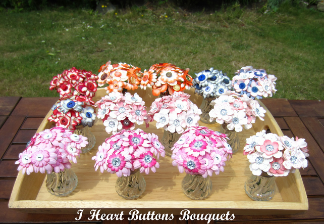 Paper Flower & Button Posies for Wedding Table Decor Gift