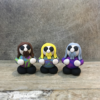 Hippies Hippy Chick clay figures
