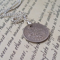 Vintage Lucky Silver Sixpence Necklace - Year 1967 ( 44th Birthday)