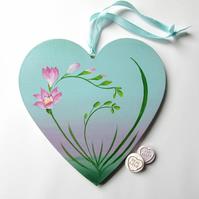 Large Hanging Heart, Handpainted Freesia Flower, Pink & Blue for Mum