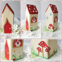 Fairy House with Red Painted Details and Red Heart