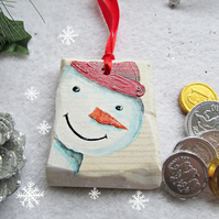 Snowman Christmas Tree Decoration, handpainted onto wood, cute