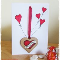 Card & Gift in one, Hanging Heart 'Forever Banner' Red Love Heart
