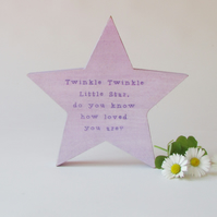 Twinkle Twinkle Little Star, mdf star for on a shelf.