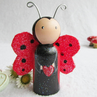 Peg Doll Love Bug Ladybird Peg Doll
