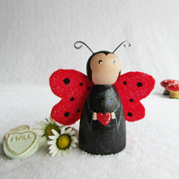 Valentines Day Love Bug Ladybird Peg Doll