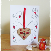 Ladybird Card, A Card and Hanging Heart Gift in one